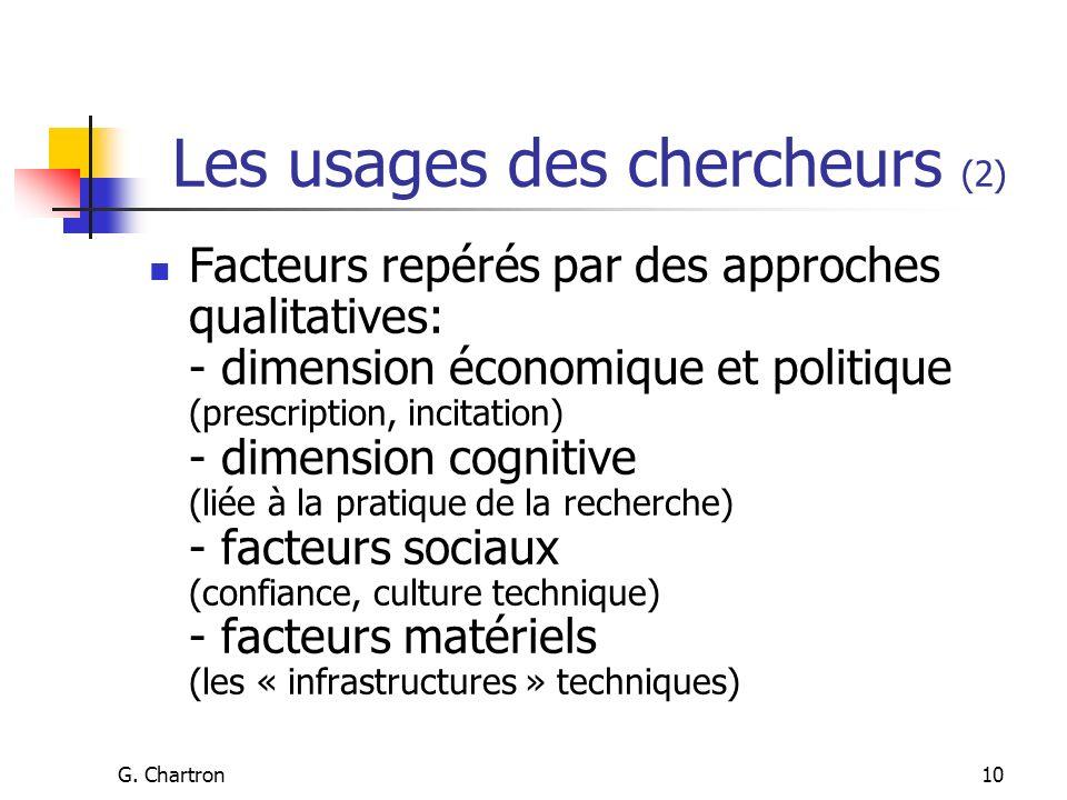 G. Chartron10 Les usages des chercheurs (2) Facteurs repérés par des approches qualitatives: - dimension économique et politique (prescription, incita