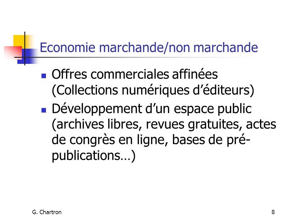 G. Chartron8 Economie marchande/non marchande Offres commerciales affinées (Collections numériques déditeurs) Développement dun espace public (archive
