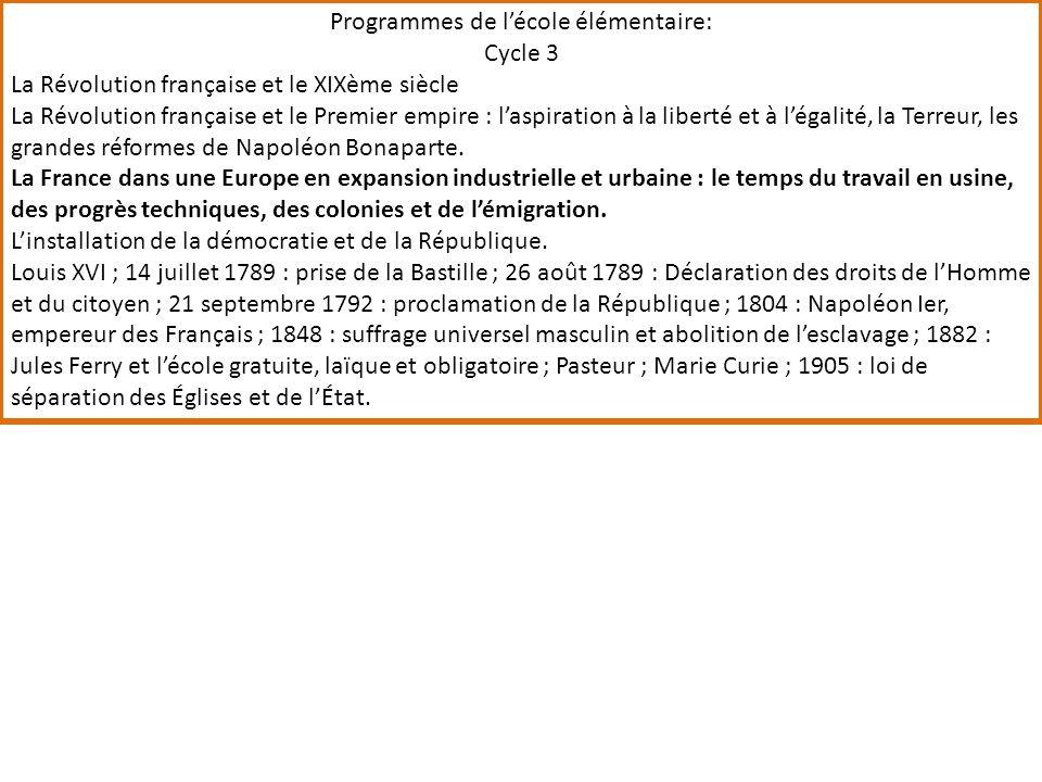 Programmes de lécole élémentaire: Cycle 3 La Révolution française et le XIXème siècle La Révolution française et le Premier empire : laspiration à la