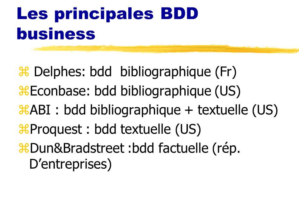 Les principales BDD business z Delphes: bdd bibliographique (Fr) zEconbase: bdd bibliographique (US) zABI : bdd bibliographique + textuelle (US) zProquest : bdd textuelle (US) zDun&Bradstreet :bdd factuelle (rép.
