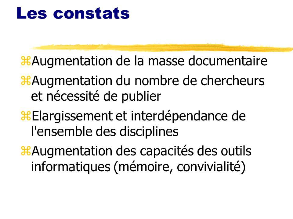 Les constats zAugmentation de la masse documentaire zAugmentation du nombre de chercheurs et nécessité de publier zElargissement et interdépendance de l ensemble des disciplines zAugmentation des capacités des outils informatiques (mémoire, convivialité)