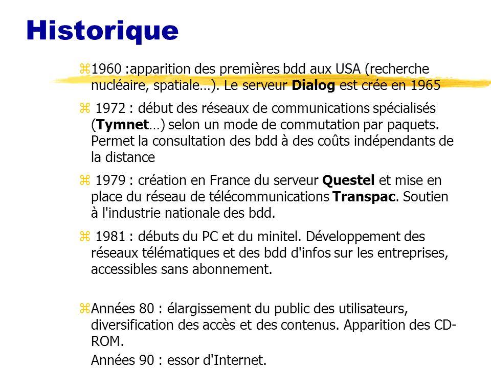 Historique z1960 :apparition des premières bdd aux USA (recherche nucléaire, spatiale…).