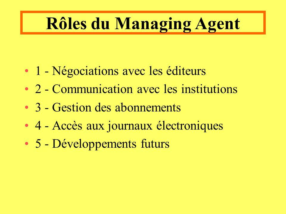 Rôles du Managing Agent 1 - Négociations avec les éditeurs 2 - Communication avec les institutions 3 - Gestion des abonnements 4 - Accès aux journaux électroniques 5 - Développements futurs