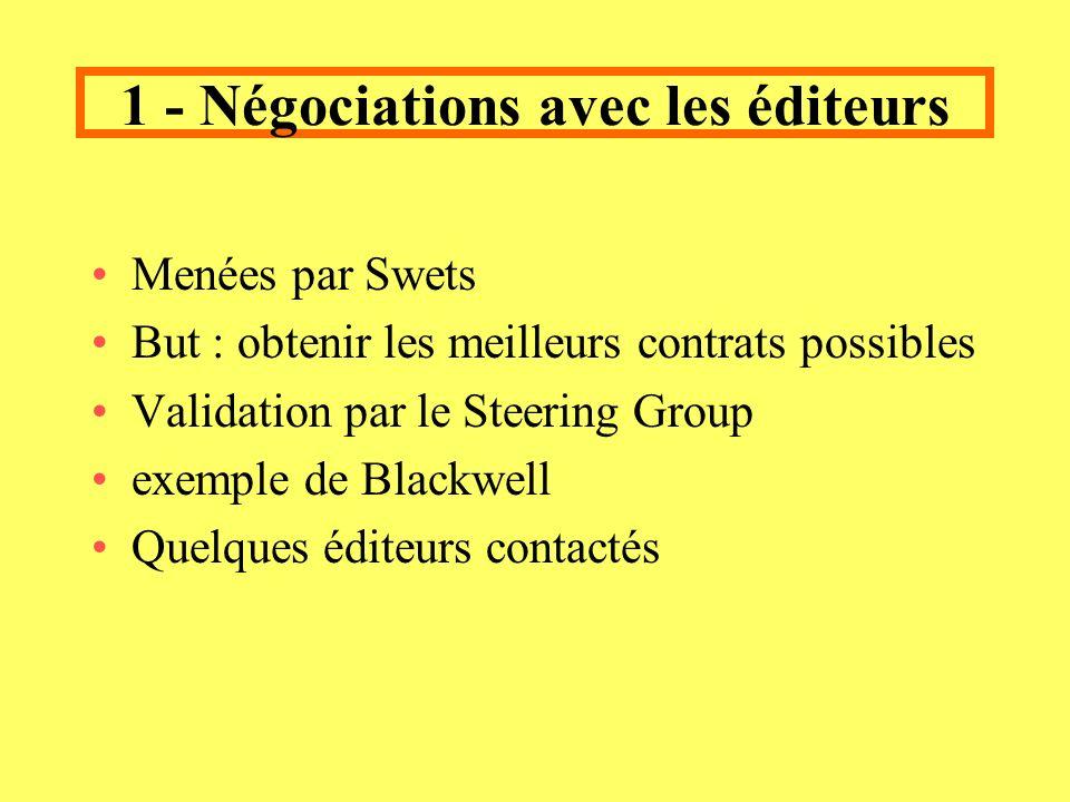 1 - Négociations avec les éditeurs Menées par Swets But : obtenir les meilleurs contrats possibles Validation par le Steering Group exemple de Blackwell Quelques éditeurs contactés