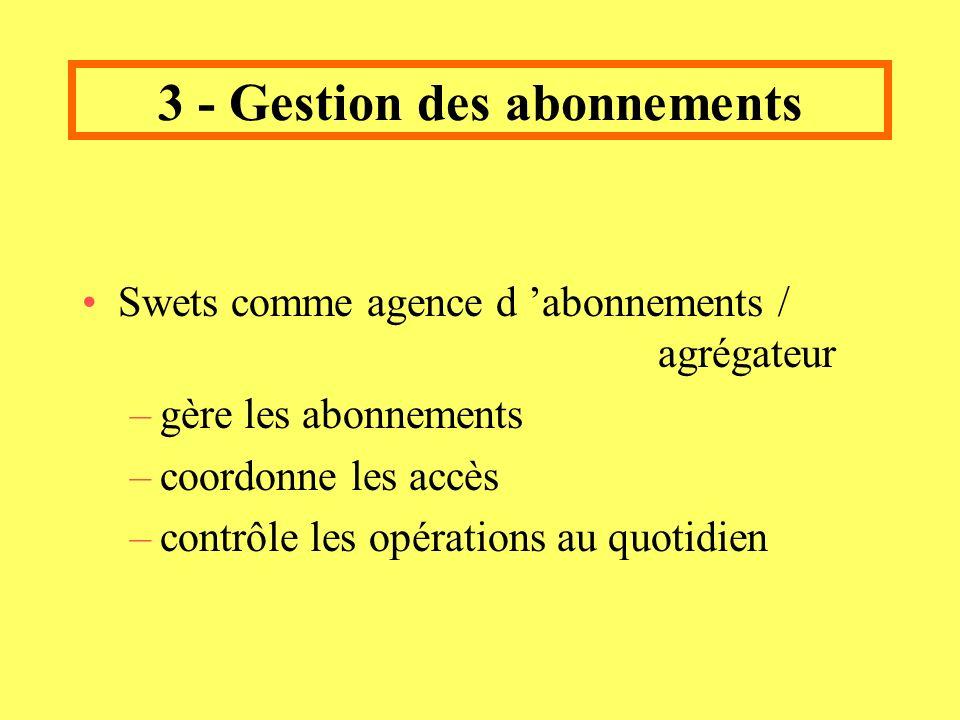 3 - Gestion des abonnements Swets comme agence d abonnements / agrégateur –gère les abonnements –coordonne les accès –contrôle les opérations au quotidien