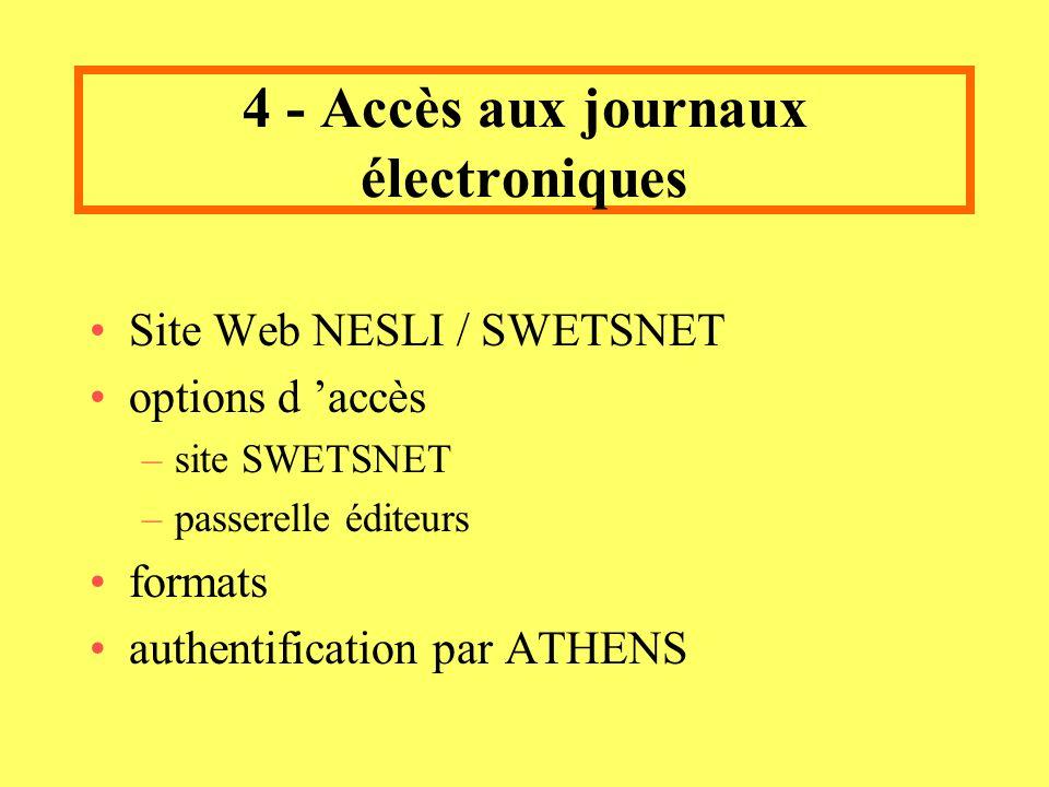 4 - Accès aux journaux électroniques Site Web NESLI / SWETSNET options d accès –site SWETSNET –passerelle éditeurs formats authentification par ATHENS