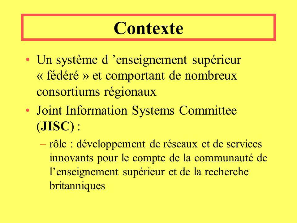 Contexte Un système d enseignement supérieur « fédéré » et comportant de nombreux consortiums régionaux Joint Information Systems Committee (JISC) : –rôle : développement de réseaux et de services innovants pour le compte de la communauté de lenseignement supérieur et de la recherche britanniques
