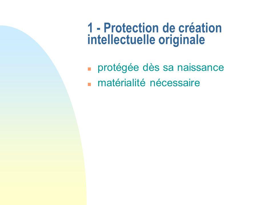 1 - Protection de création intellectuelle originale n protégée dès sa naissance n matérialité nécessaire