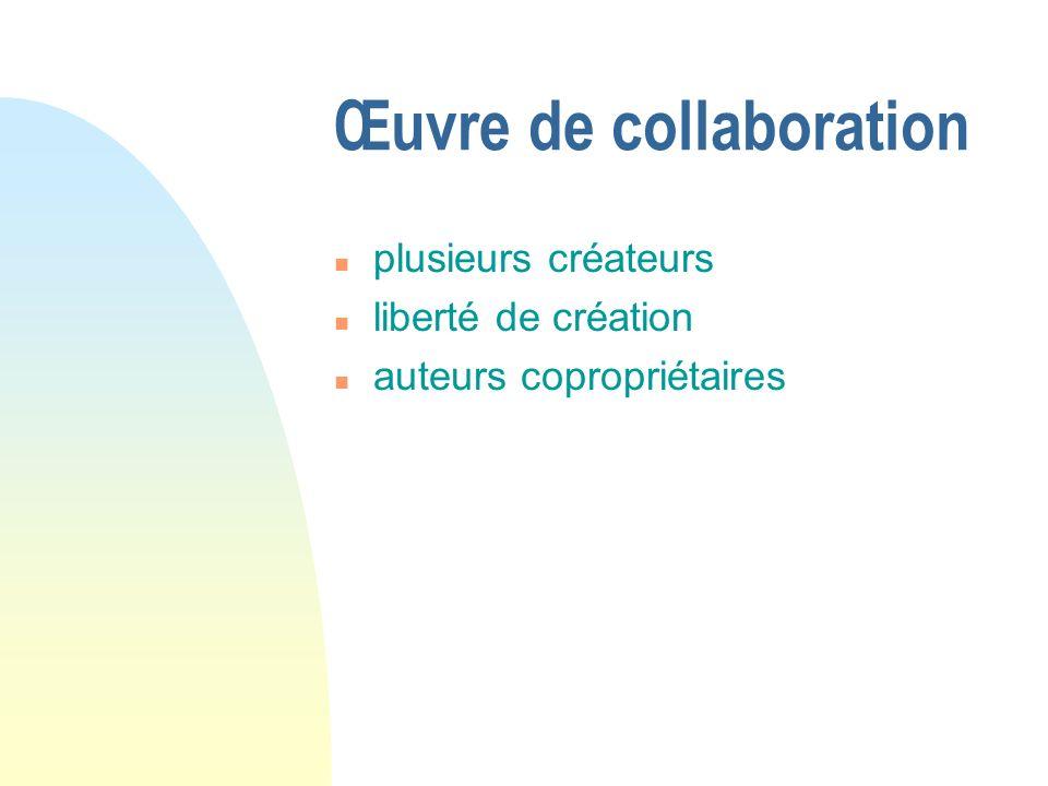 Œuvre de collaboration n plusieurs créateurs n liberté de création n auteurs copropriétaires