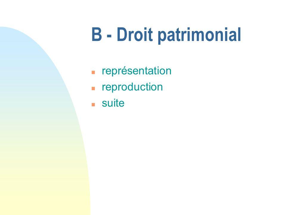 B - Droit patrimonial n représentation n reproduction n suite
