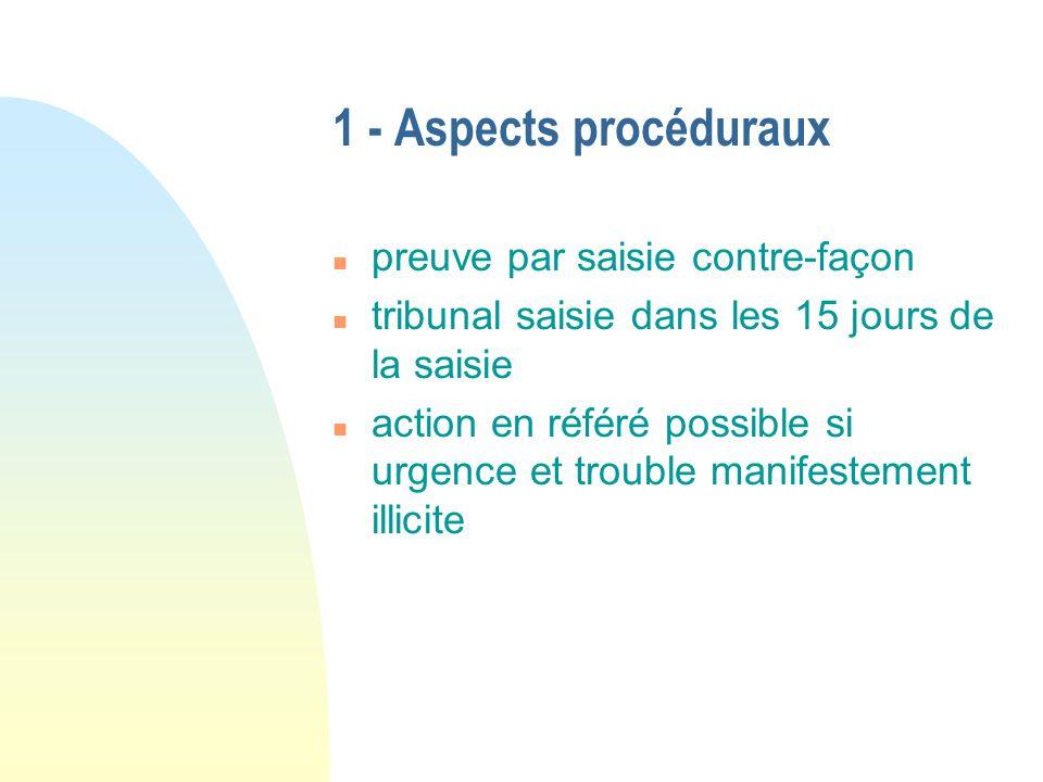1 - Aspects procéduraux n preuve par saisie contre-façon n tribunal saisie dans les 15 jours de la saisie n action en référé possible si urgence et tr