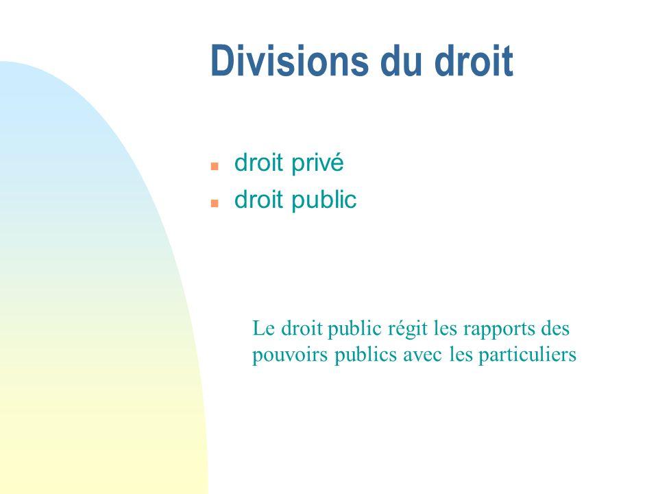 Divisions du droit n droit privé n droit public Le droit public régit les rapports des pouvoirs publics avec les particuliers