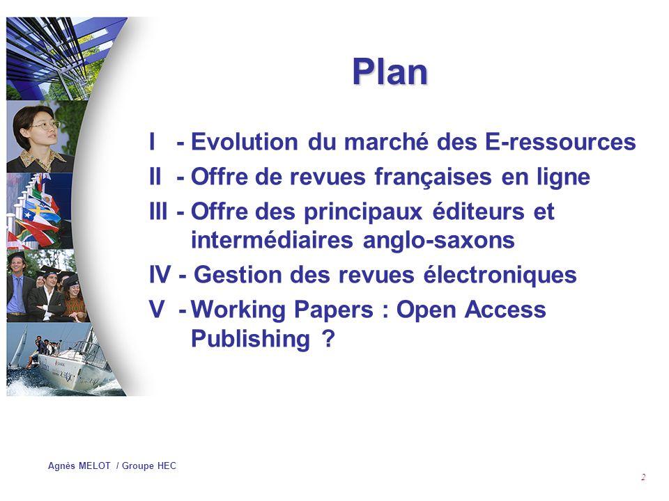 Agnès MELOT / Groupe HEC 12 Répartition des dépenses électroniques des Bibliothèques Universitaires (2001) par langue (en %) I – EVOLUTION DU MARCHE DES E-RESSOURCES (SCIENCES ECONOMIQUES, GESTION) Quelques chiffres 1,71,2 Autres 32,61,723,2 Français 65,798,375,6 Anglais BDDPériodiquesTotal
