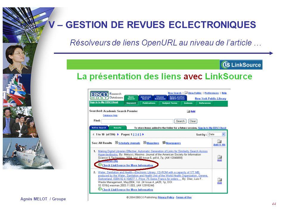 Agnès MELOT / Groupe HEC 43 IV – GESTION DE REVUES ECLECTRONIQUES Résolveurs de liens OpenURL au niveau de larticle…