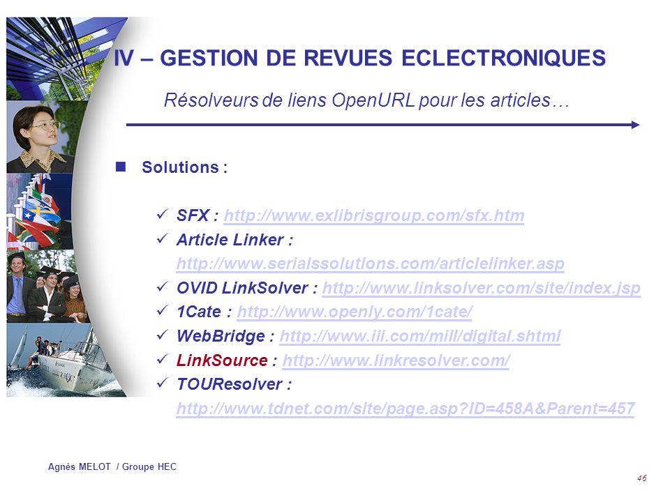Agnès MELOT / Groupe HEC 45 V – GESTION DE REVUS ECLECTRONIQUES Résolveurs de liens OpenURL au niveau de larticle…..