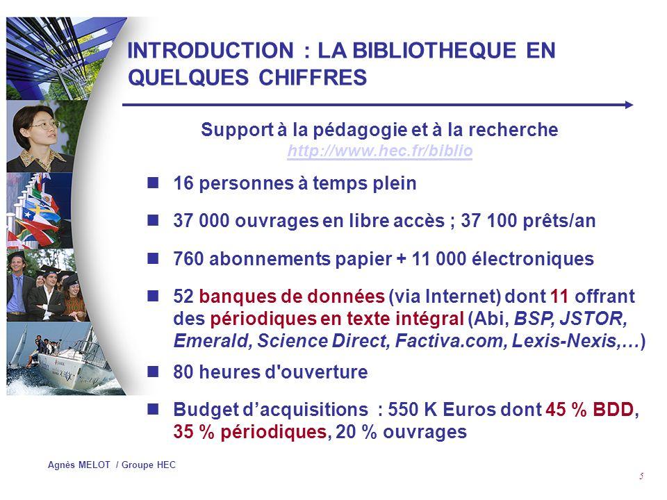 Agnès MELOT / Groupe HEC 5 INTRODUCTION : LA BIBLIOTHEQUE EN QUELQUES CHIFFRES 16 personnes à temps plein 37 000 ouvrages en libre accès ; 37 100 prêts/an 760 abonnements papier + 11 000 électroniques 52 banques de données (via Internet) dont 11 offrant des périodiques en texte intégral (Abi, BSP, JSTOR, Emerald, Science Direct, Factiva.com, Lexis-Nexis,…) 80 heures d ouverture Budget dacquisitions : 550 K Euros dont 45 % BDD, 35 % périodiques, 20 % ouvrages Support à la pédagogie et à la recherche http://www.hec.fr/biblio