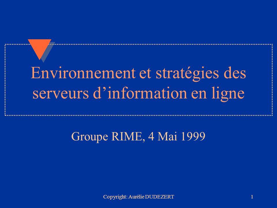 Copyright: Aurélie DUDEZERT22 QUESTEL ORBIT u Principales orientations stratégiques en 1998: –Gérer la privatisation de France Télécom –Spécialisation sur linformation brevet et marque –Nouveaux outils