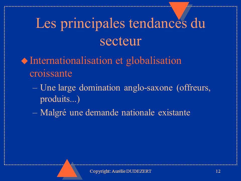 Copyright: Aurélie DUDEZERT12 Les principales tendances du secteur u Internationalisation et globalisation croissante –Une large domination anglo-saxone (offreurs, produits...) –Malgré une demande nationale existante