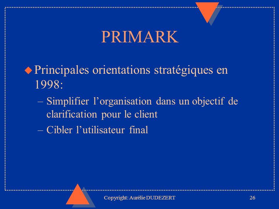Copyright: Aurélie DUDEZERT26 PRIMARK u Principales orientations stratégiques en 1998: –Simplifier lorganisation dans un objectif de clarification pour le client –Cibler lutilisateur final