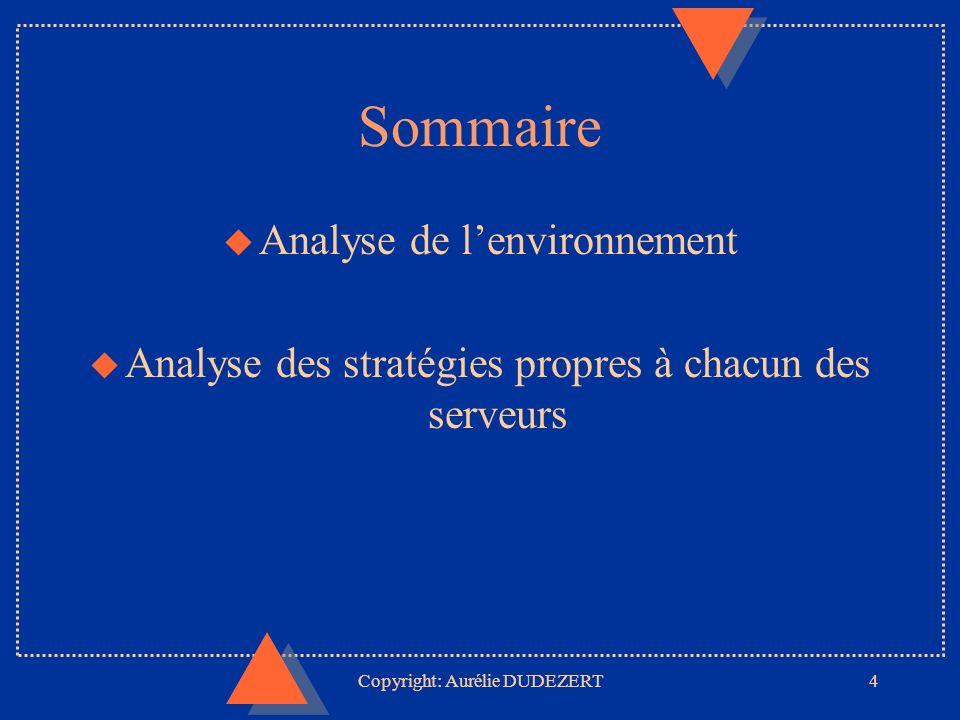 Copyright: Aurélie DUDEZERT4 Sommaire u Analyse de lenvironnement u Analyse des stratégies propres à chacun des serveurs