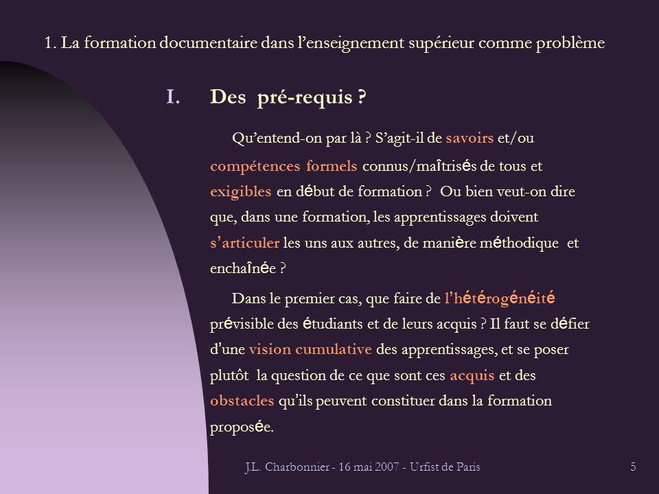 J.L. Charbonnier - 16 mai 2007 - Urfist de Paris5 1.