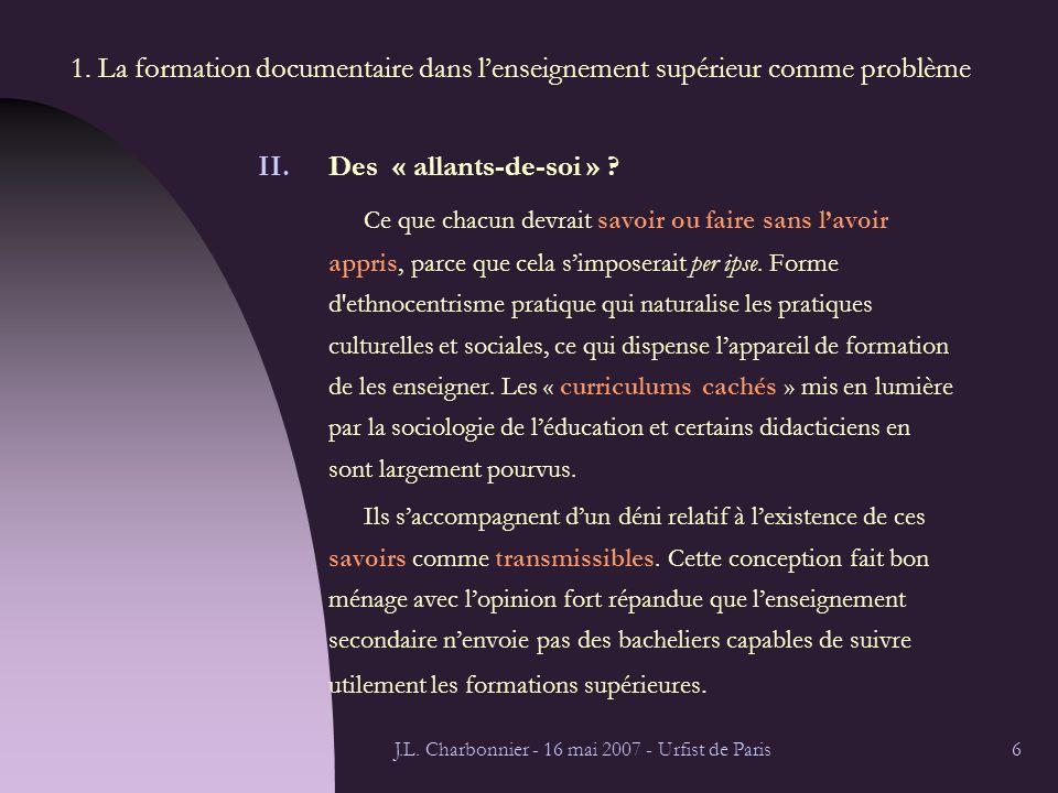 J.L.Charbonnier - 16 mai 2007 - Urfist de Paris7 1.