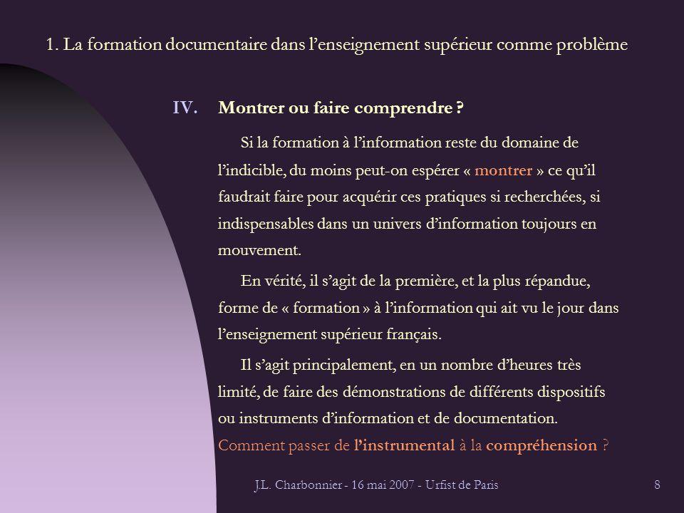 J.L.Charbonnier - 16 mai 2007 - Urfist de Paris9 1.