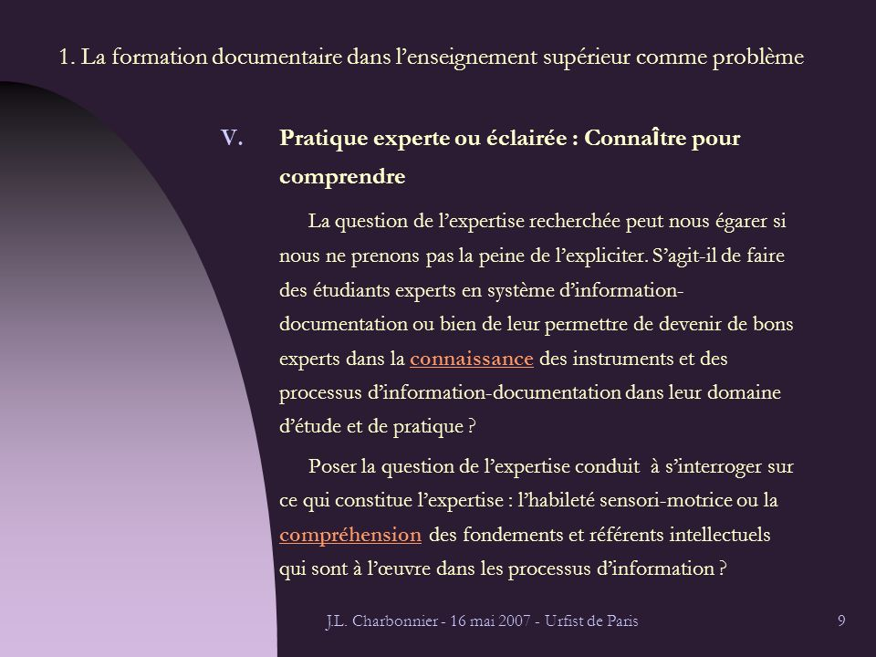 J.L. Charbonnier - 16 mai 2007 - Urfist de Paris9 1.