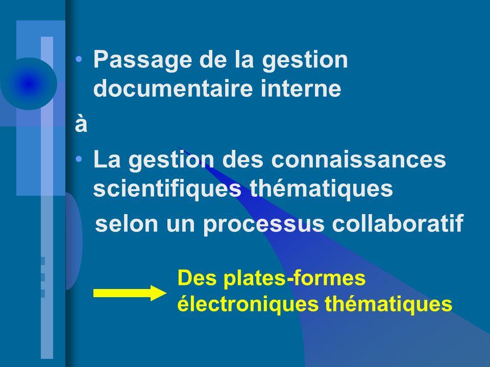 Passage de la gestion documentaire interne à La gestion des connaissances scientifiques thématiques selon un processus collaboratif Des plates-formes électroniques thématiques