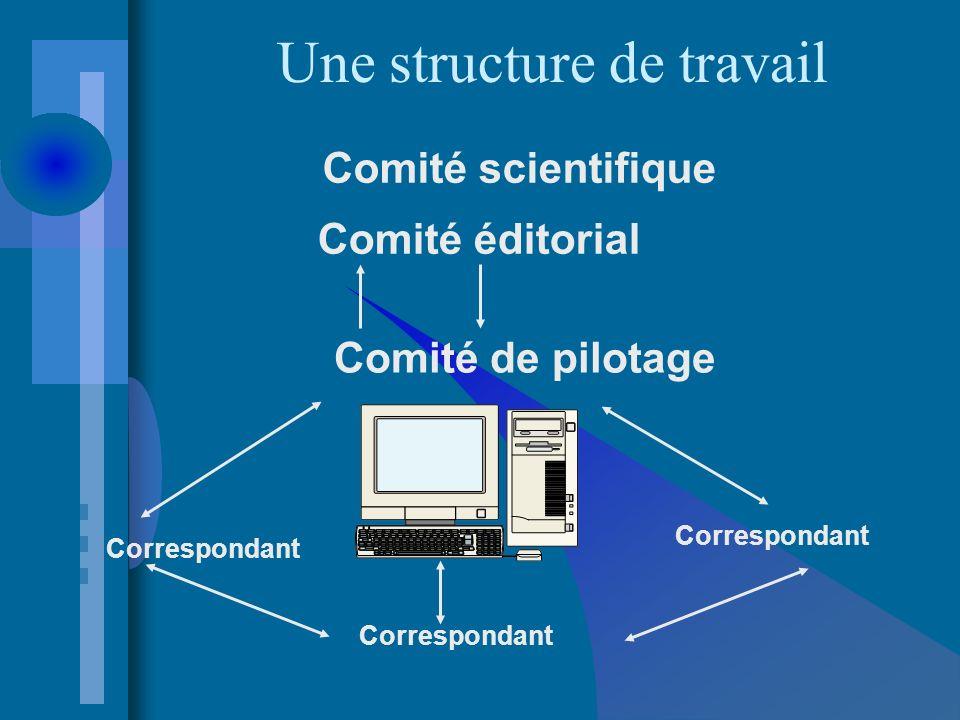 Une structure de travail Comité éditorial Comité de pilotage Correspondant Comité scientifique