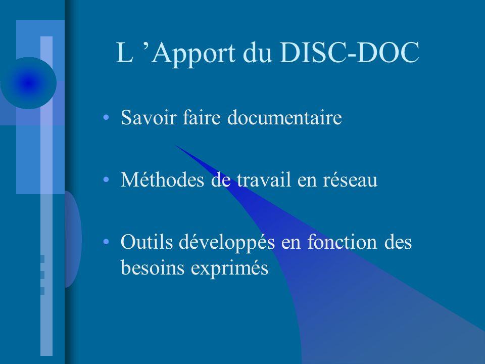 L Apport du DISC-DOC Savoir faire documentaire Méthodes de travail en réseau Outils développés en fonction des besoins exprimés