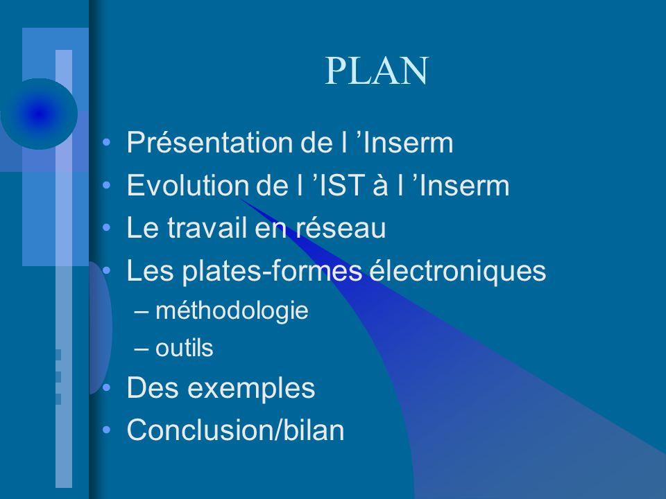 PLAN Présentation de l Inserm Evolution de l IST à l Inserm Le travail en réseau Les plates-formes électroniques –méthodologie –outils Des exemples Conclusion/bilan