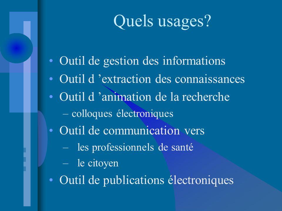 Quels usages? Outil de gestion des informations Outil d extraction des connaissances Outil d animation de la recherche –colloques électroniques Outil