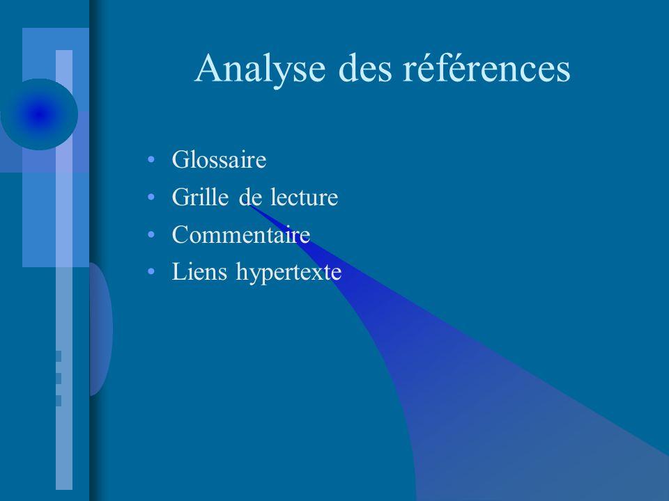 Analyse des références Glossaire Grille de lecture Commentaire Liens hypertexte