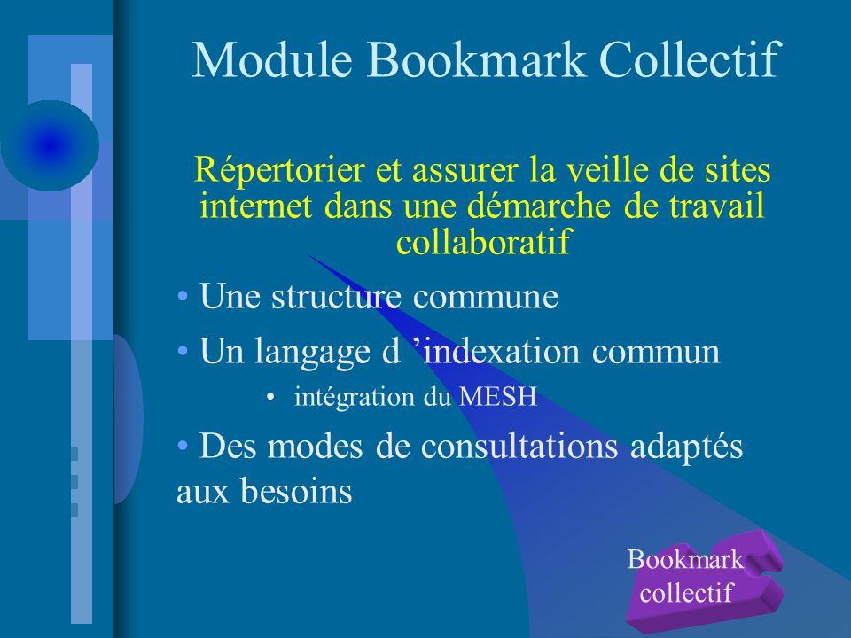 Module Bookmark Collectif Répertorier et assurer la veille de sites internet dans une démarche de travail collaboratif Une structure commune Un langage d indexation commun intégration du MESH Des modes de consultations adaptés aux besoins Bookmark collectif