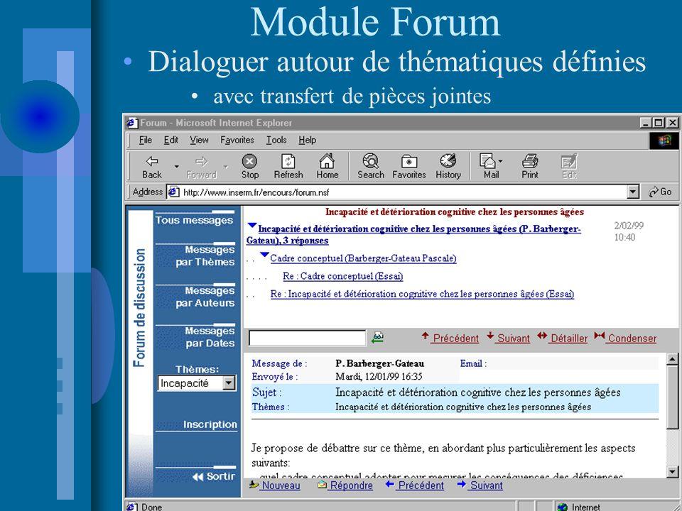 Module Forum Dialoguer autour de thématiques définies avec transfert de pièces jointes