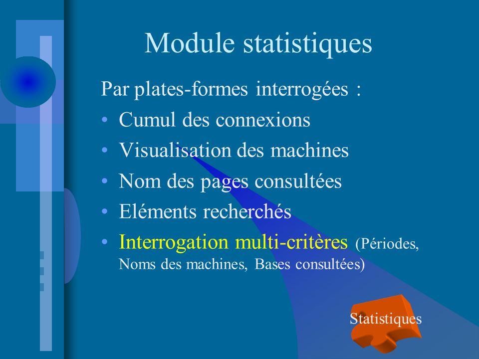 Module statistiques Par plates-formes interrogées : Cumul des connexions Visualisation des machines Nom des pages consultées Eléments recherchés Interrogation multi-critères (Périodes, Noms des machines, Bases consultées) Statistiques