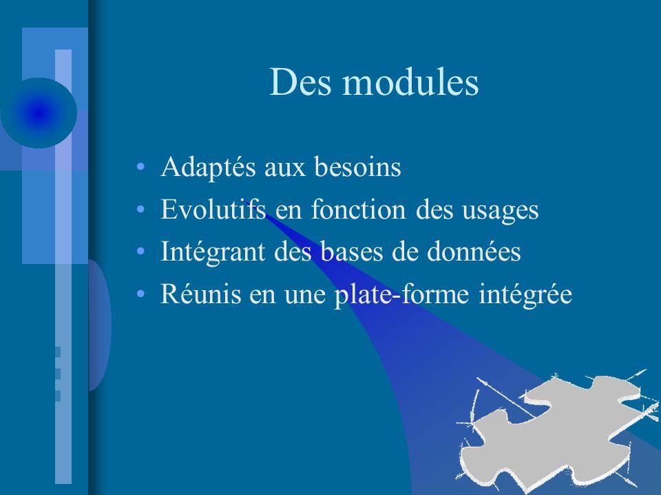 Des modules Adaptés aux besoins Evolutifs en fonction des usages Intégrant des bases de données Réunis en une plate-forme intégrée