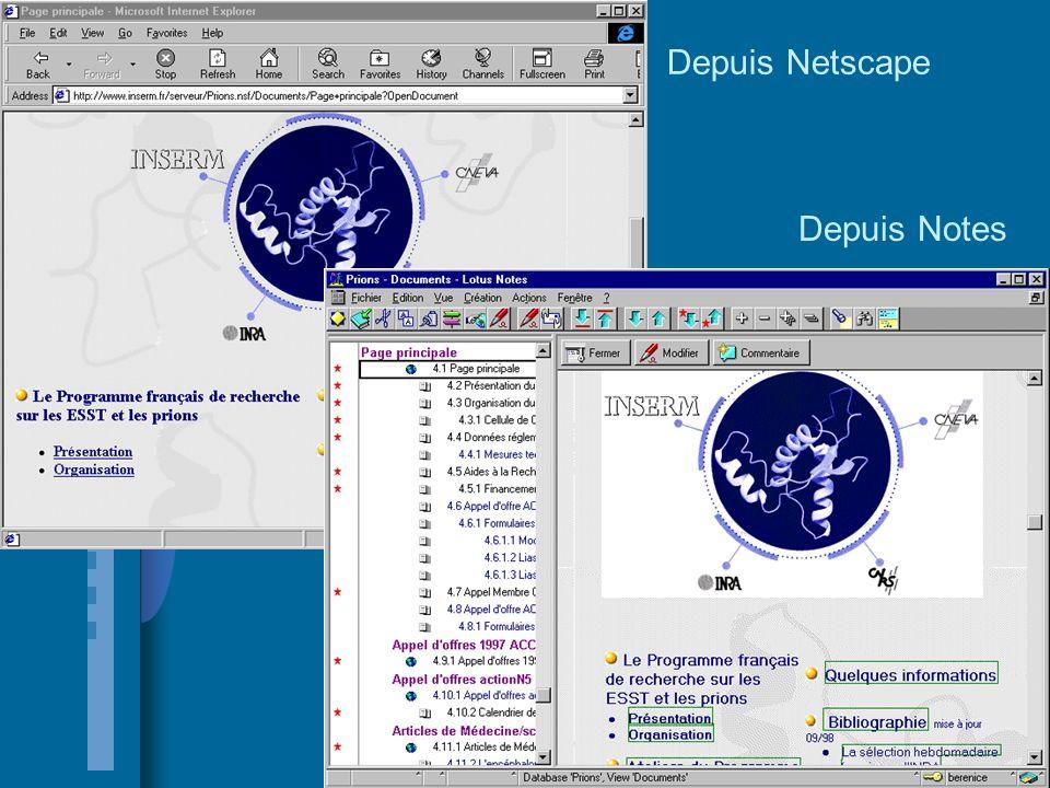 Depuis Netscape Depuis Notes