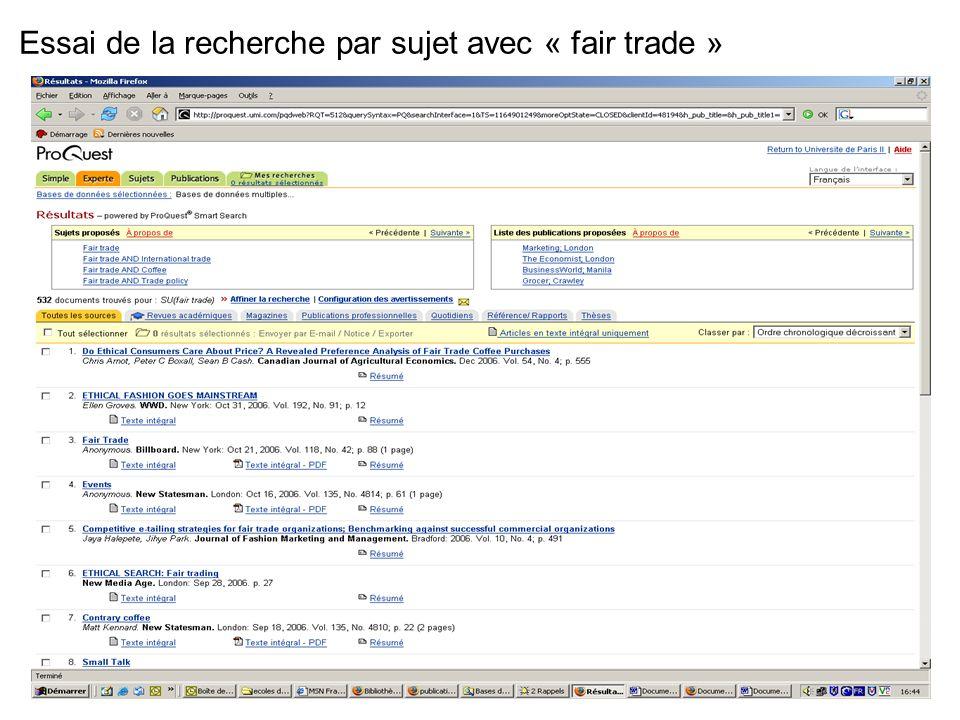 16 Essai de la recherche par sujet avec « fair trade »