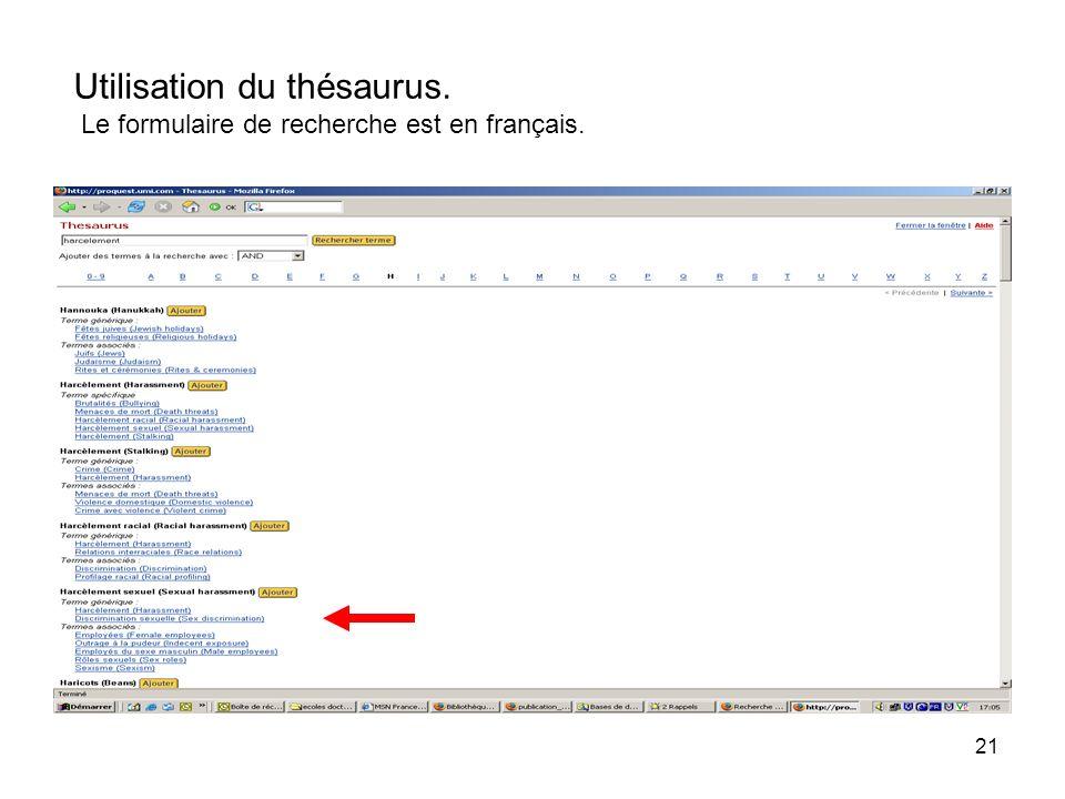 21 Utilisation du thésaurus. Le formulaire de recherche est en français.