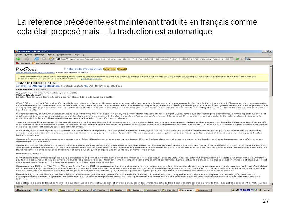 27 La référence précédente est maintenant traduite en français comme cela était proposé mais… la traduction est automatique