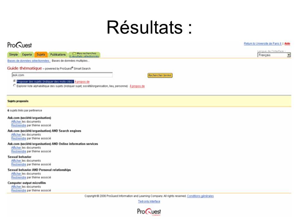 6 Résultats :