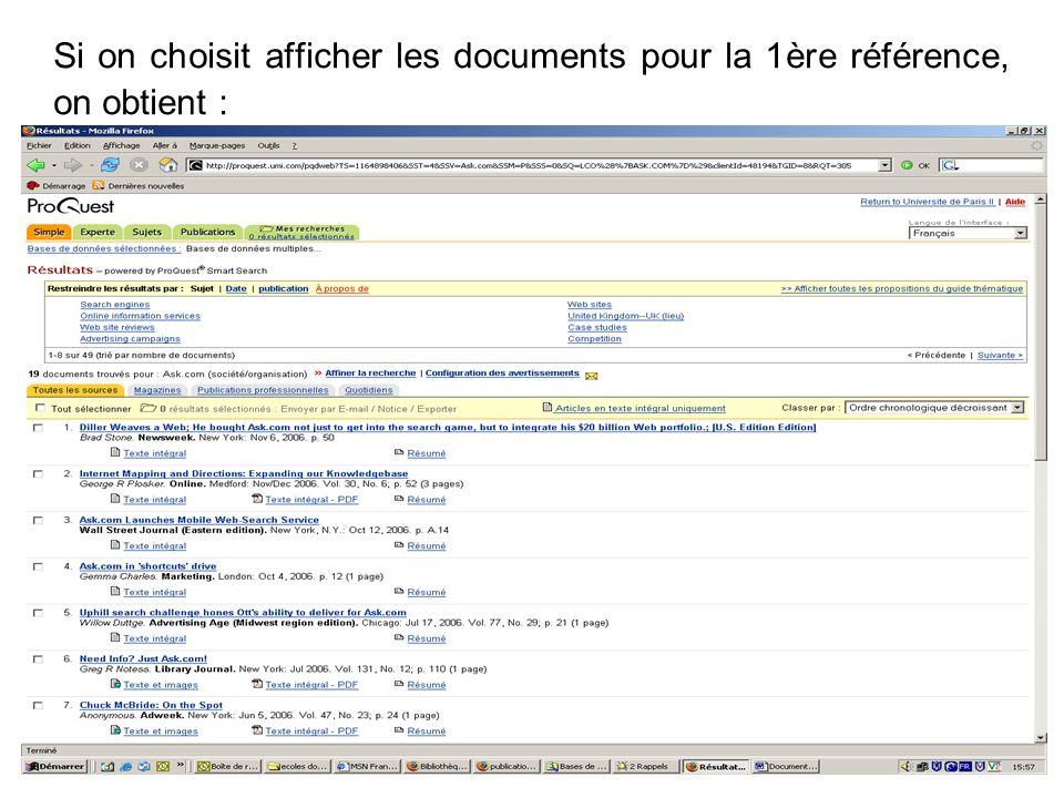 30 Réponses : 19 documents que l on peut alors afficher globalement ou selon les onglets : revues académiques, publications professionnelles...