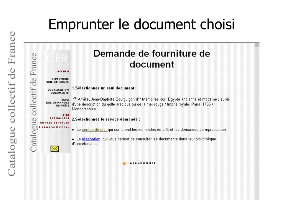 Emprunter le document choisi