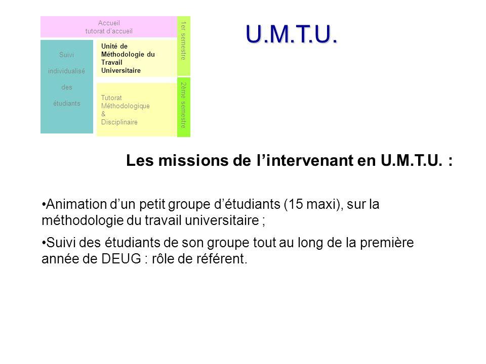 U.M.T.U.Les missions de lintervenant en U.M.T.U.