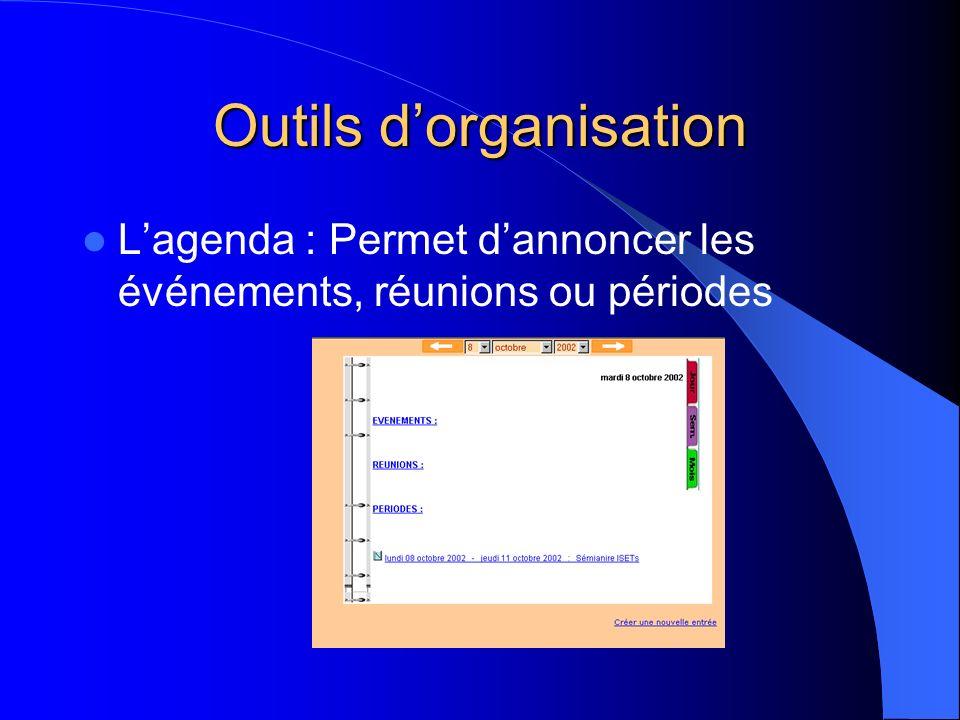 Outils dorganisation Lagenda : Permet dannoncer les événements, réunions ou périodes