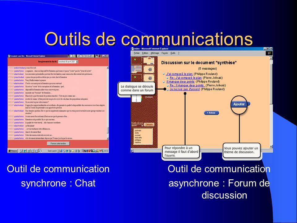 Outils de communications Outil de communication synchrone : Chat Outil de communication asynchrone : Forum de discussion