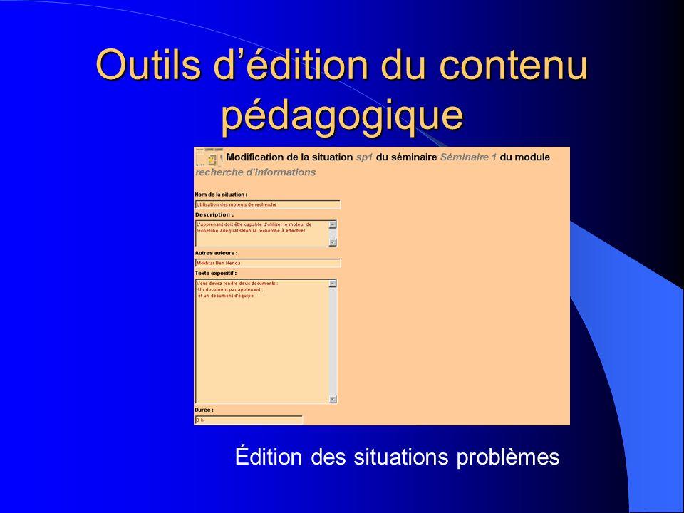 Outils dédition du contenu pédagogique Édition des situations problèmes