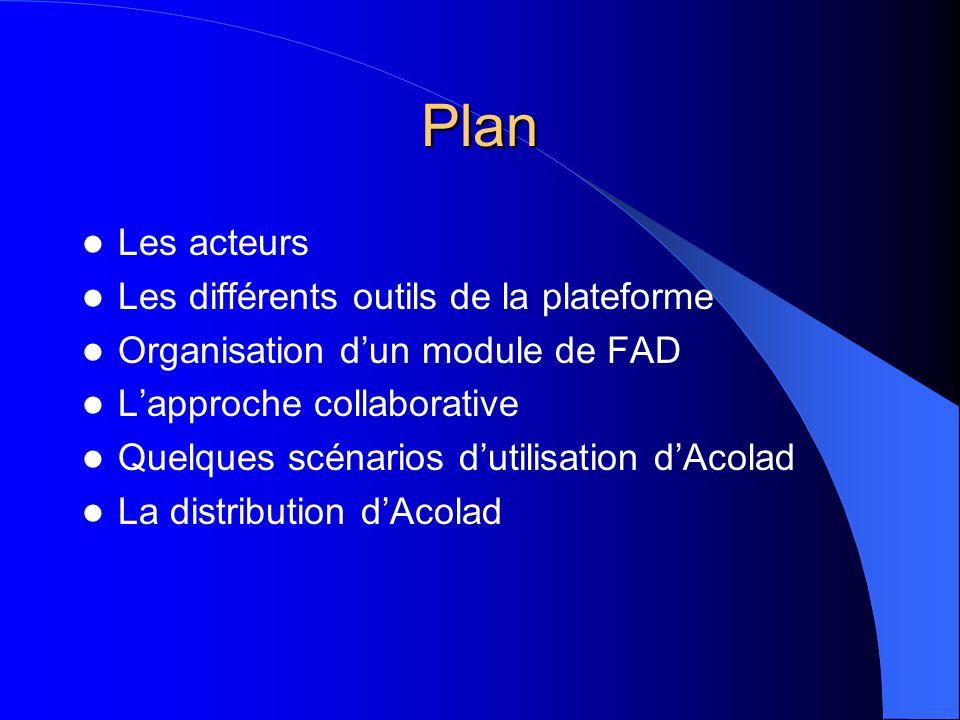 Plan Les acteurs Les différents outils de la plateforme Organisation dun module de FAD Lapproche collaborative Quelques scénarios dutilisation dAcolad